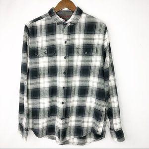WOOLRICH Men's Black/White Flannel Shirt - Size L